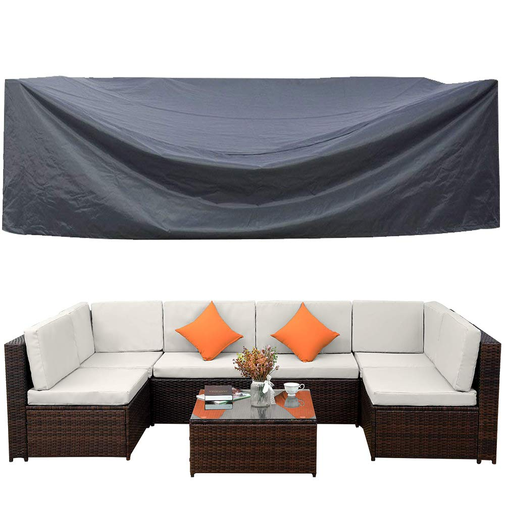 Outdoor Patio Furniture Covers Waterproof Outdoor Furniture Lounge Porch Sofa Covers Sunscreen Dustproof Durable Protective Seat Covers No Fading126 L x 64'' W x 29'' H by Covolo