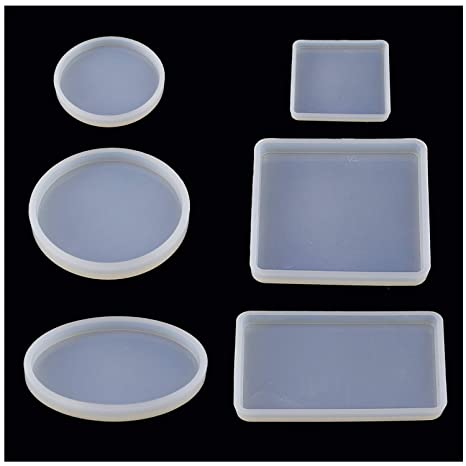 Luckkyme Juego de moldes de resina de fundición cuadrados, redondos, rectangulares, de resina