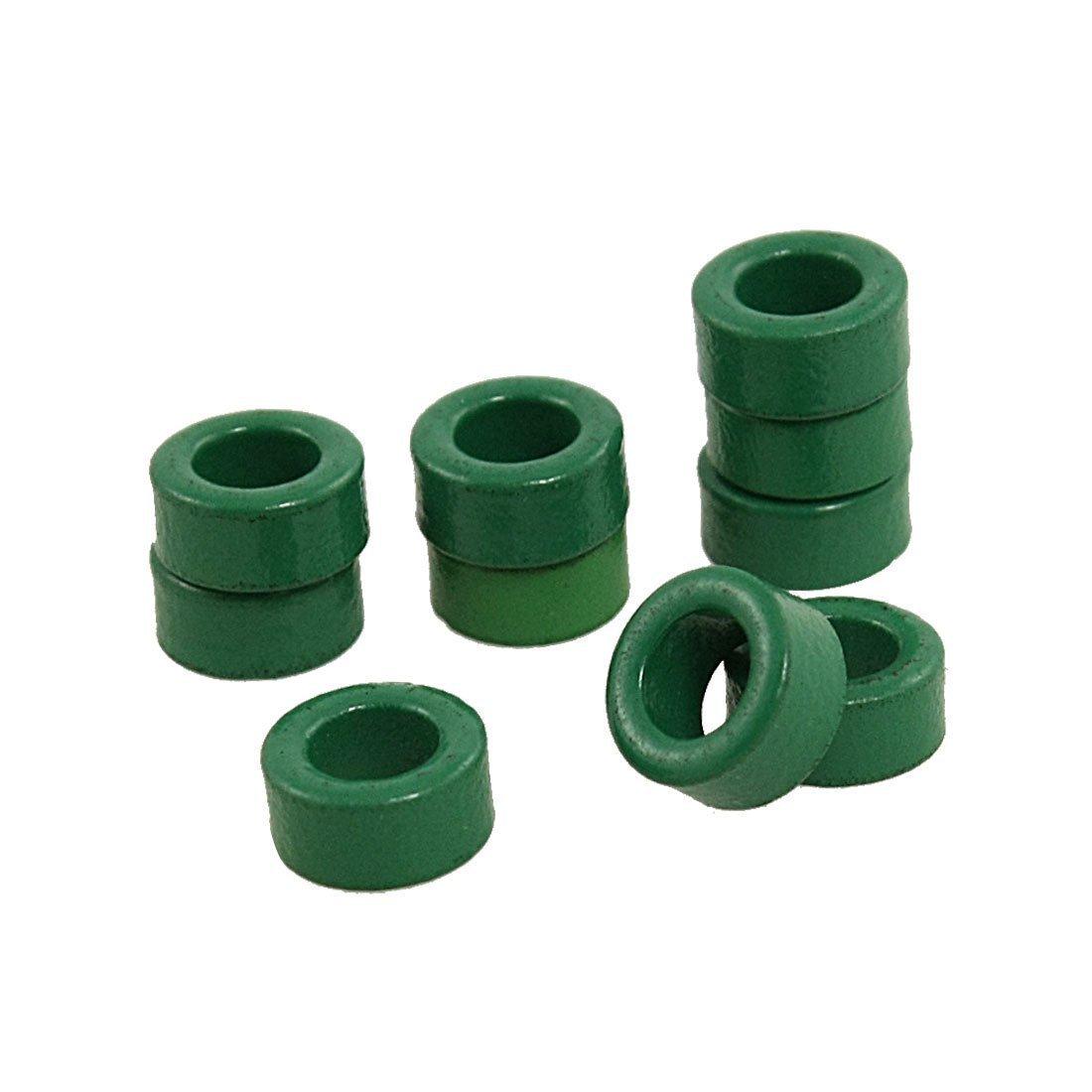 SODIAL 10 Pcs Inductor Coils Green Toroid Ferrite Cores 10mm x 6mm x 5mm
