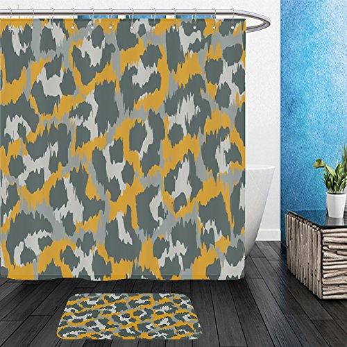 Vanfan Bathroom 2Suits 1 Shower Curtains & 1 Floor Mats leopard pattern vector illustration seamless print wallpaper background texture 622639097 From Bath room - Echelon Echelon Shower Locker