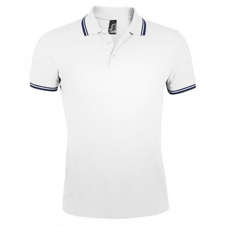 SOLS Men's Pasadena Tipped Short Sleeve Pique Polo Shirt