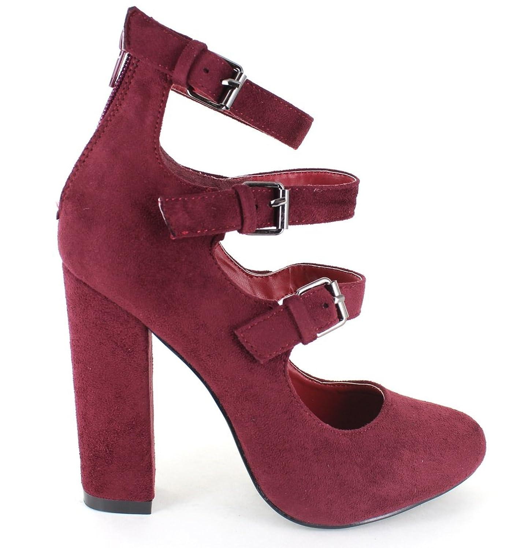 b84fb2aa80c9c best Urban Heels Women's shoe SOFIA-05 Faux-Suede Buckeled Strap ...
