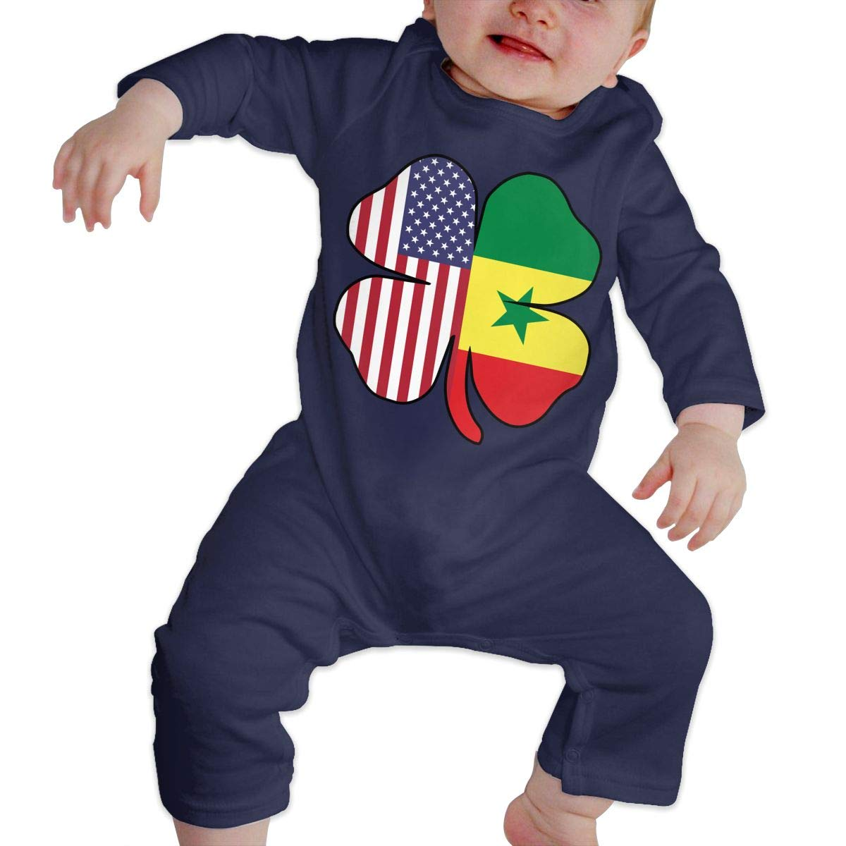 Mri-le1 Toddler Baby Boy Girl Long Sleeved Coveralls American Senegal Flag Shamrock Toddler Jumpsuit