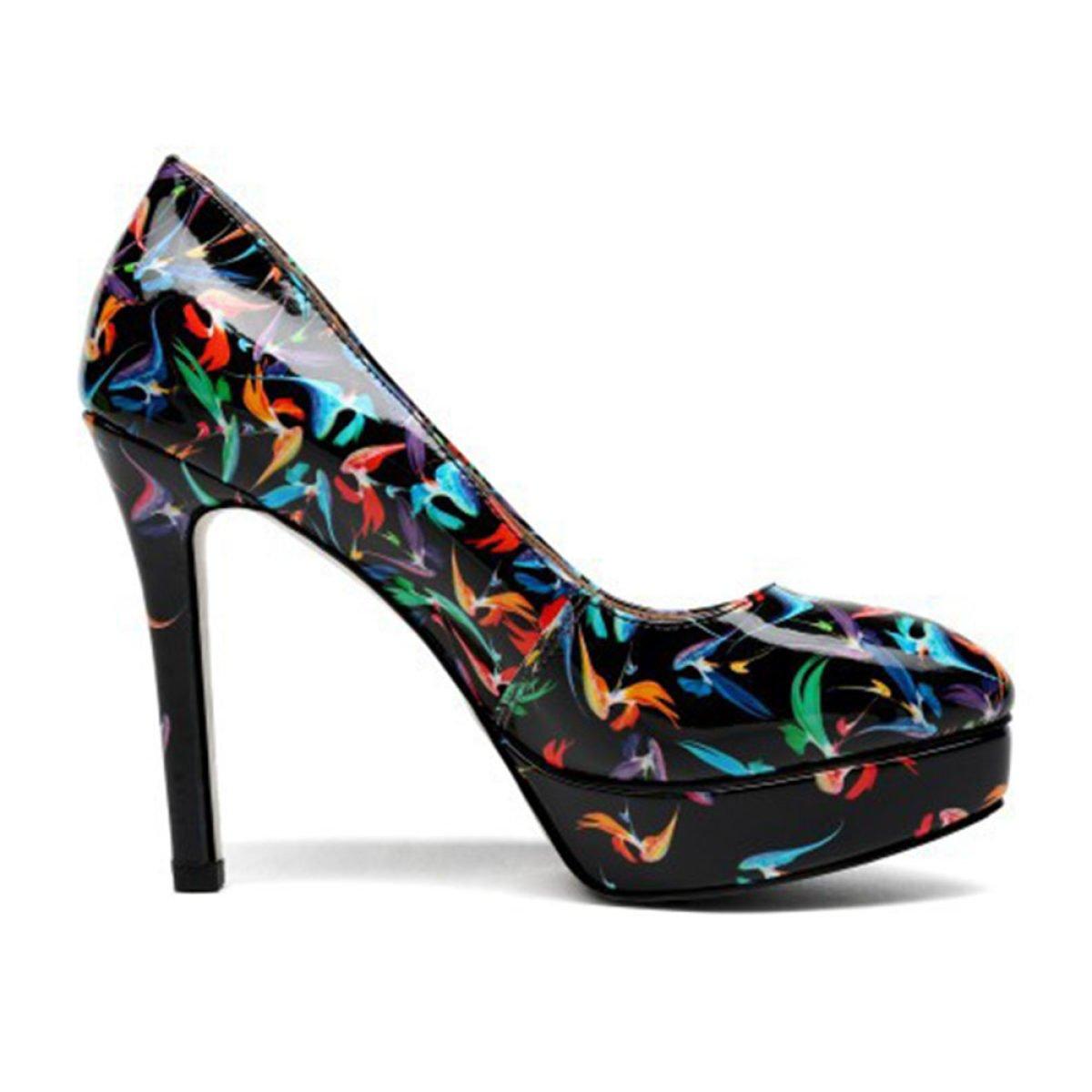 Frauen Round Toe Shallow Printing Schuhe Mit High High High Heels Fashion Court Schuhe Pumpe Stiletto Heel Sexy Party Hochzeit Kleid Schuhe b44d46