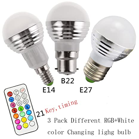 Pack de 3 bombillas LED de 3 W E27, E14 B22lamp 3 W RGB bombilla