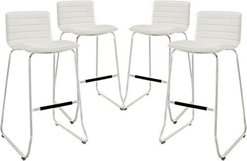 Modway Dive Ribbed Faux Leather Upholstered Four Bar Stools in White