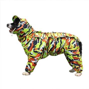 feiling Patchwork Lluvia Abrigo para Perro Perros Chubasquero Impermeable 4 Patas de Lluvia Chaqueta Mascotas Rain Coat Dog con Desmontable Capucha para ...