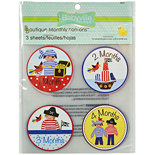 Babyville Boutique 12 Count Monthly Iron-Ons, Little Pirates Designs (Pirate Clothing For Sale)