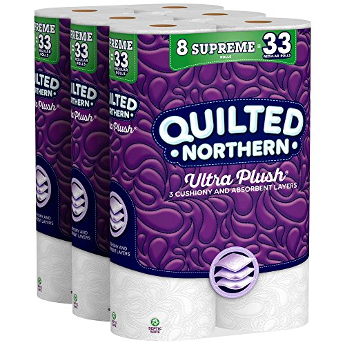 Quilted Northern Ultra Plush Toilet Paper, 24 Supreme Rolls, 24 = 99 Regular Rolls, 3 Ply Bath Tissue, 3 Packs of 8 -
