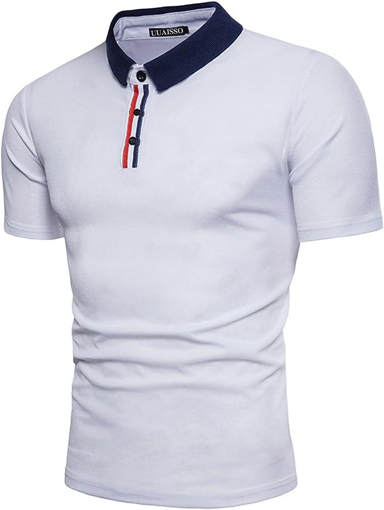 UUAISSO Hombre Manga Corta Personalidad Diseño Cremallera Camiseta ...