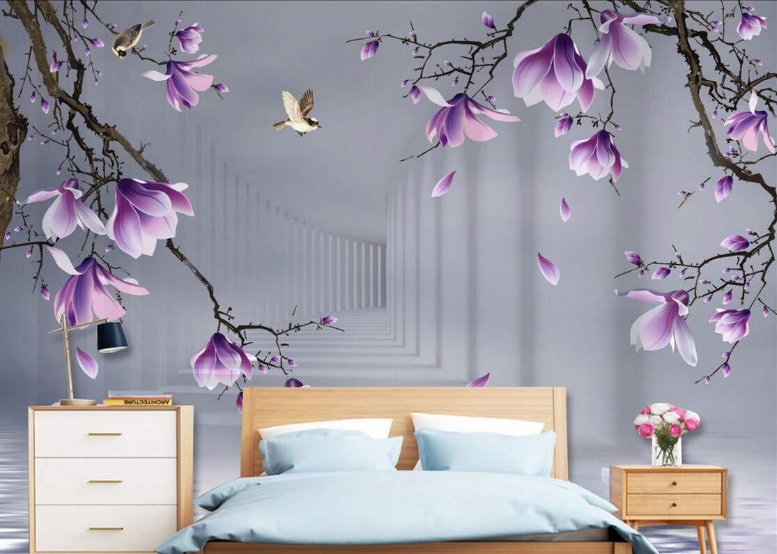 Papier Peint 3D Mur De Fond Hd Oiseau Dessin/é Main Fleur De Magnolia Moderne Intiss/é D/écoration Murale