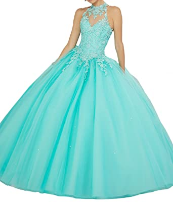 Angela High Neck Lace Prom Dresses Two Piece Quinceanera Dresses Ball Gown Long ANS055