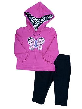 8887629ca Kids Headquarters Infant Girls Butterfly Hoodie Sweatshirt & Leggings  Outfit 12m