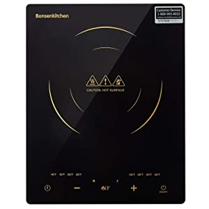 Bonsenkitchen 1800-Watt Induction Cooktop Portable Countertop Burner with Sensor Touch Screen, Black, CT8802