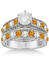 Antique Diamond and Citrine Bridal Gemstone Wedding Ring Set Hypoallergenic Palladium (3.12ct)