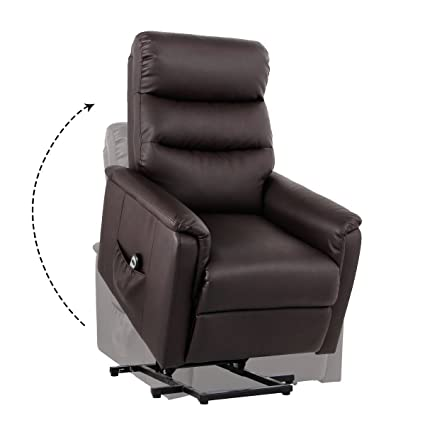 Unionline PU Leather Power Lift Chairs Recliner for Elderly Wall Hugger with Remote Control (New Lift Chair-Brown)