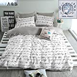 BuLuTu Love Letters Print Cotton Twin Duvet Cover Set White Gray Premium Modern Teen Boys Girls Bedroom Bedding Set Zipper Closure