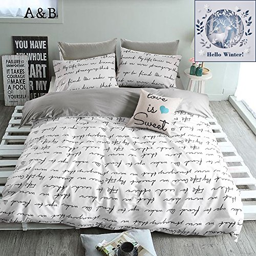 BuLuTu Love Letters Print Cotton Duvet Cover Queen Set White Gray Premium Teen Boys Girls Bedroom Bedding Sets Full Size Zipper Closure,Super Soft and Breathable,NO COMFORTER