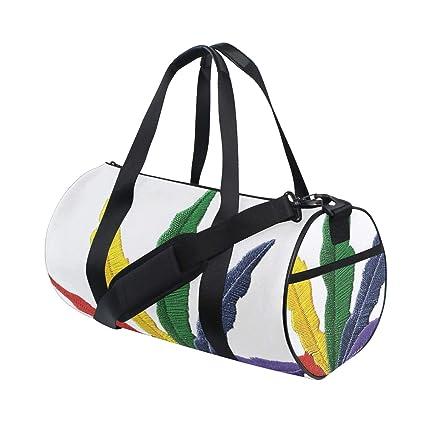dd294ee6516f Amazon.com : OuLian Duffel Bag Rainbow Leaf Patch Women Garment Gym ...