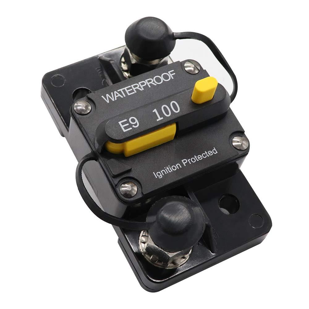 KKmoon 12V-24V 30-100A Disjoncteur Batterie Double R/éarmement Manuel IP67 Etanche Fusible