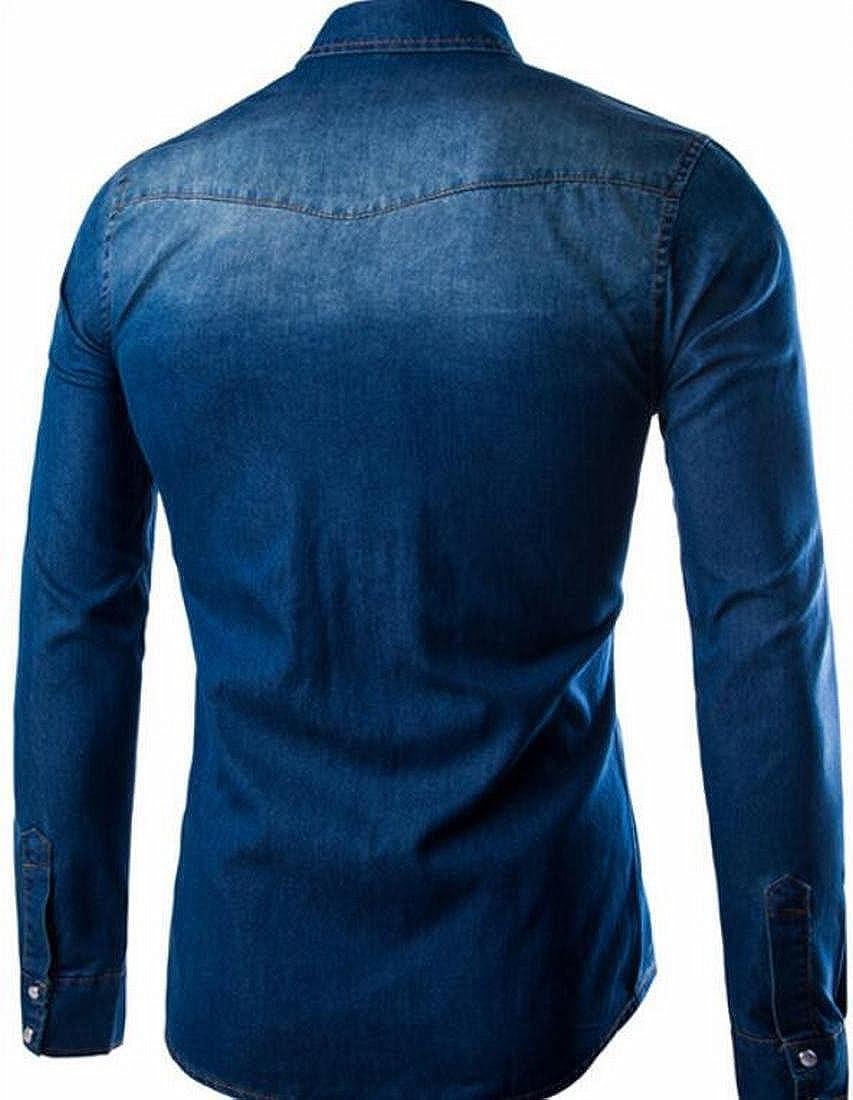GRMO-Men Vingtage Denim Jean Pockets Long Sleeve Washed Button Down Shirt Dark Blue US M