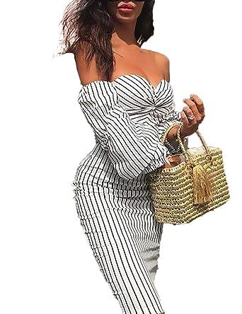 5c59a5a16fe8 Boutiquefeel Damen Steifen Bedruckt Schulterfreies Puff Ärmel Bodycon Kleid   Amazon.de  Bekleidung