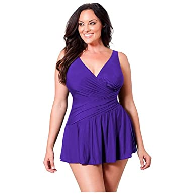 fdaa271302 Miraclesuit Slimming One Piece Swim Dress For Women (18, Purple) at ...