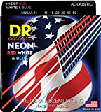 DR Strings NUSAA-11 Coated Phosphor Bronze Acoustic Guitar Strings, Custom Light, 11-50, Neon Red/White/Blue