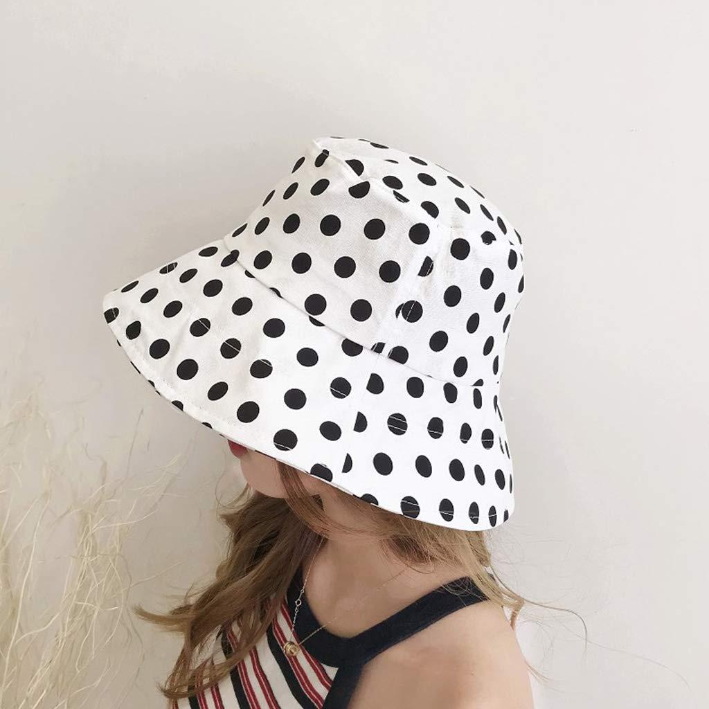 Caingmo Women Men Couples Large Polka Dot Print Bucket Hat Wide Brim Sun Protection Outdoor Flat Top Packable Cotton Fisherman Cap