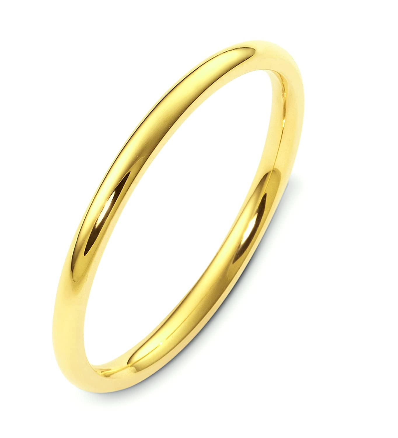 Mens 14K Yellow Gold 2mm Heavy Inside Round Comfort Fit Wedding Band Ring