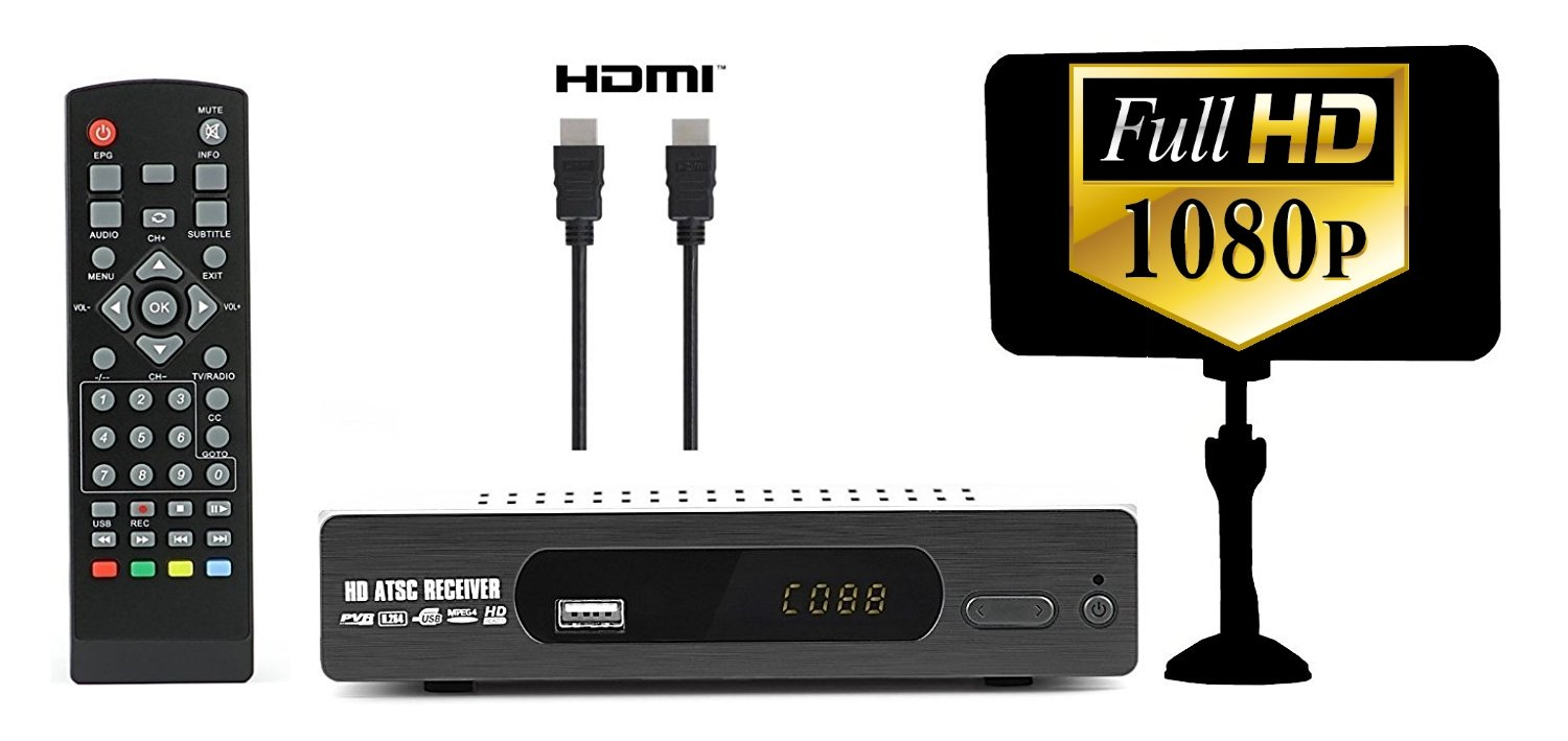 Digital Converter Box for TV + Flat Antenna + HDMI Cable for Recording & Viewing Full HD Digital Channels FREE (Instant & Scheduled Recording, 1080P, HDMI Output, 7Day Program Guide & LCD Screen) by eXuby