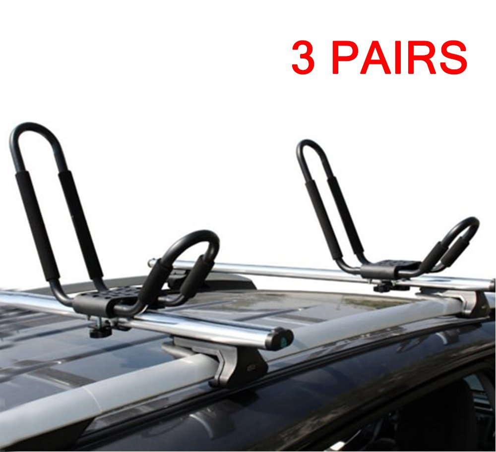 LEAGUE&CO J Bar Kayak Canoe Inflatable Boat Wakeboard Waveboard Paddleboard Snowboard Ski Roof Rack Carrier Car SUV Truck Jeep Roof Top Mount With Straps (3 Pairs (6 Racks))