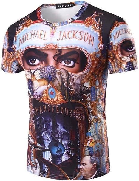 Shuanghao Top Punk Cotton Colorful Tshirt Adecuado para fanáticos de Michael Jack Tees Top Royal Casual T-Shirt: Amazon.es: Ropa y accesorios