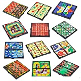 Kidsco Magnetic Travel Board Games - 12 Pack - Popular Games include Checkers, Chess, Chinese Checkers, Tic Tac Toe, and Backgammon -Great for Road Trips, Quality Time, Camping Entertainment