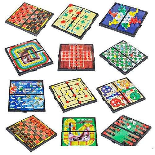 Kidsco Magnetic Travel Board Games - 12 Pack - Popular Games include Checkers, Chess, Chinese Checkers, Tic Tac Toe, and Backgammon -Great for Road Trips, Quality Time, Camping Entertainment by Kidsco