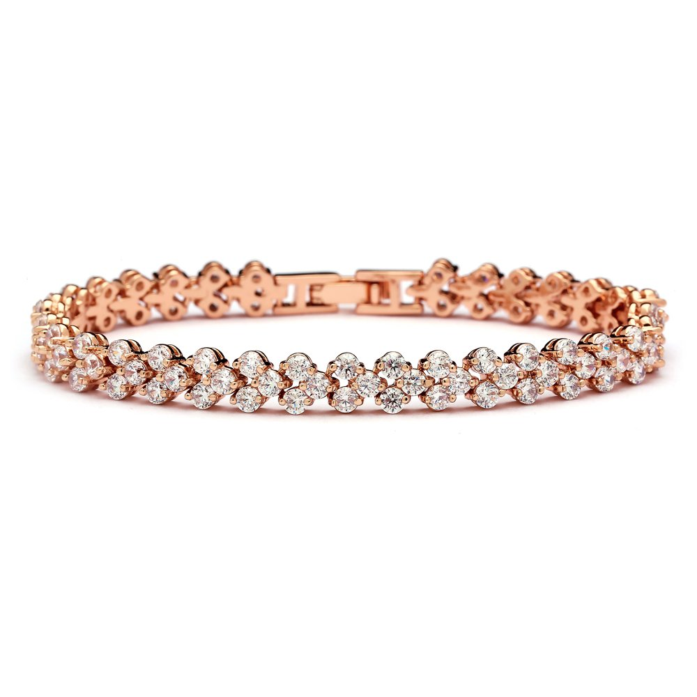 Mariell 14K Rose Gold Plated 6 3/8'' CZ Tennis Bracelet for Wedding Bridal or Prom - For Petite Wrist Size