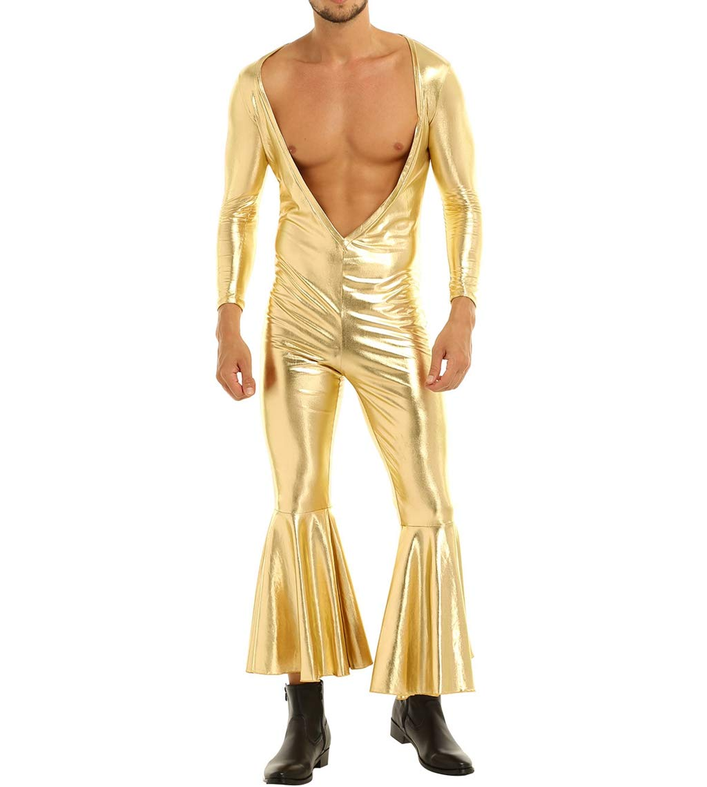 Yizyif Mens Metallic Long Sleeve Bro Deep V Neck Bell Bottom Flared Long Pants Jumpsuit Catsuits Gold X Large