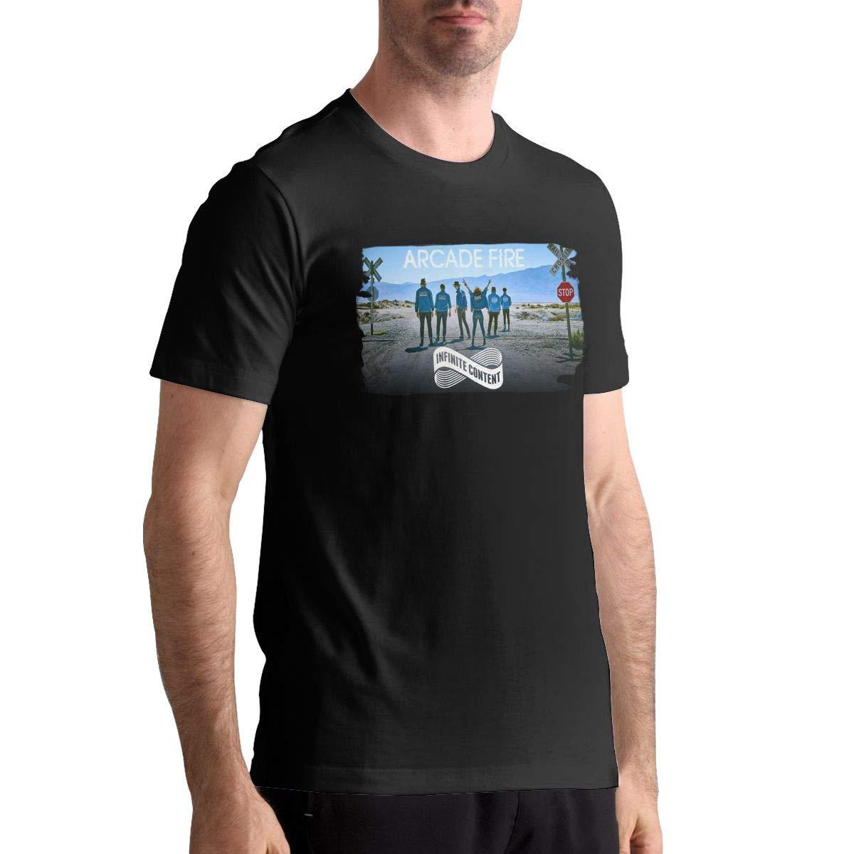 Hye D Riche Arcade Fire Mens Popular Short Sleeve Music Band T-Shirts Shirt Black
