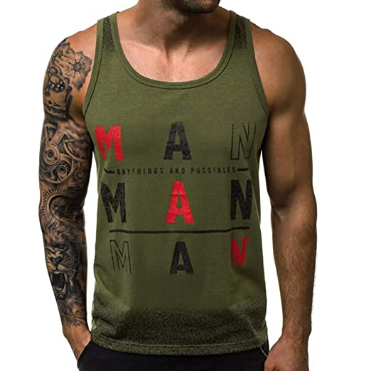 a6ed1f12 Men's Tanks Tops Printed Vest Workout Blouse Sleeveless Bodybuilding Tee  Workout Shirt (L2, Army