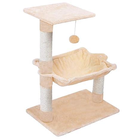 Wellhome Árboles para Gatos con Pelota y Hamaca 70cm Beige