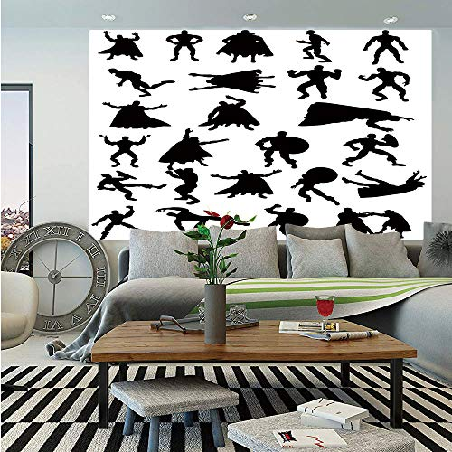 Superhero Removable Wall Mural,Hero Silhouettes in Different Moves Action Energy Conflict Struggle Illustration Decorative,Self-Adhesive Large Wallpaper for Home Decor 66x96 inches,Black White