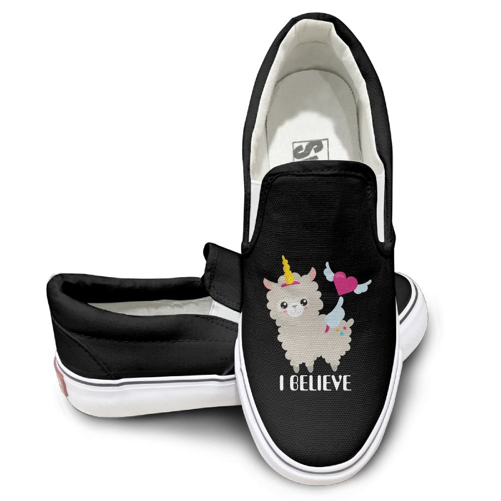 SH-rong I Believe Unicorn Llama Unisex Canvas Sneakers Shoes Size 39 Black