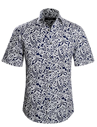 APTRO Men's Short Sleeve Floral Paisley Shirt APT018 XXL