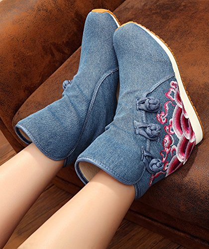 Snow Icegrey Lined Boots Wedge Denim Embroidered Handmade Boots Women's Blue Fleece Ankle q1q8wgxr
