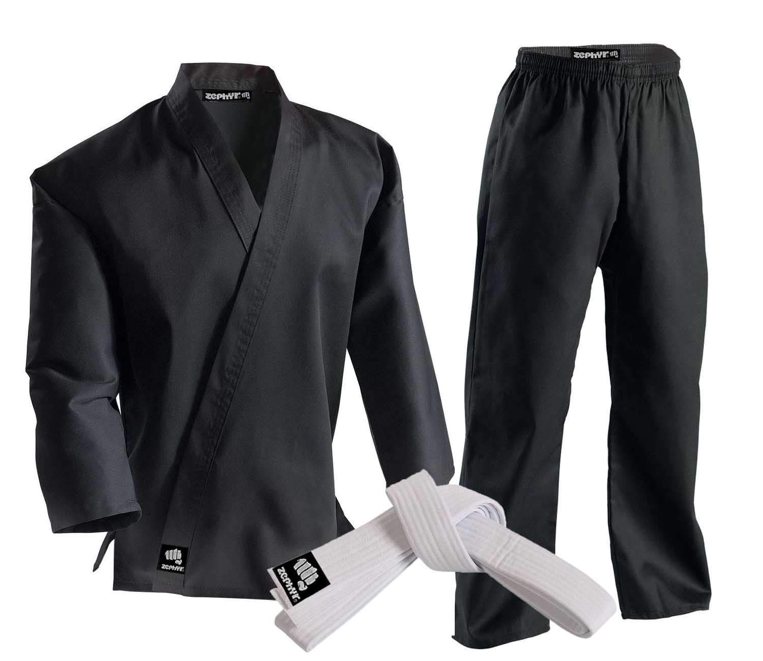 Zephyr Martial Arts 7.5 oz. Karate Gi Student Uniform with Belt - Black - 4 by Zephyr Tactical