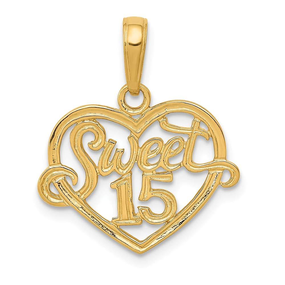 14K Sweet 15 in Heart Pendant