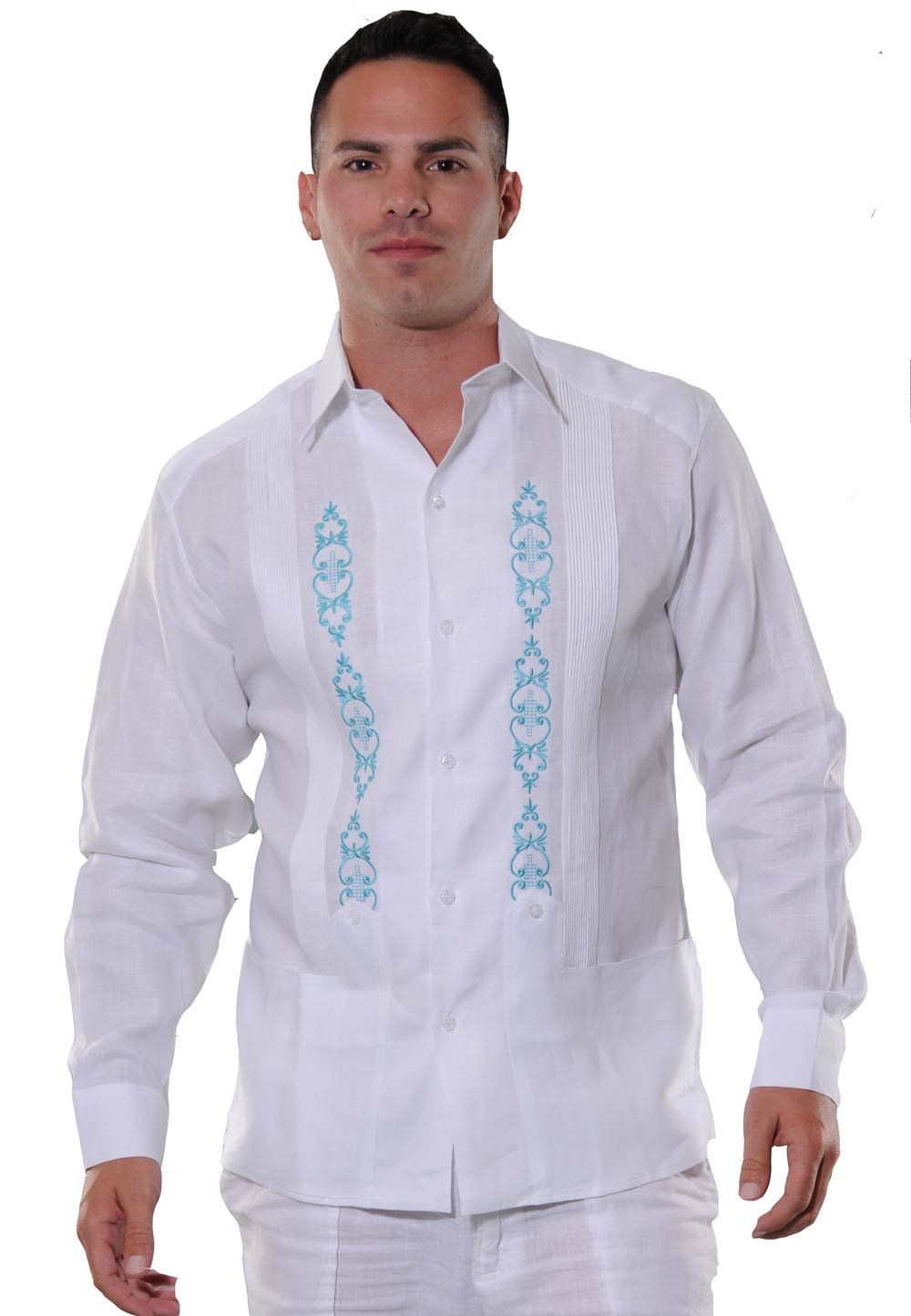 GUAYABERASCUBANAS Grooms or Groomsmen Guayaberas from Miami. Excellent Embroidery. Good Quality. Linen 100% (Medium, White/Teal)
