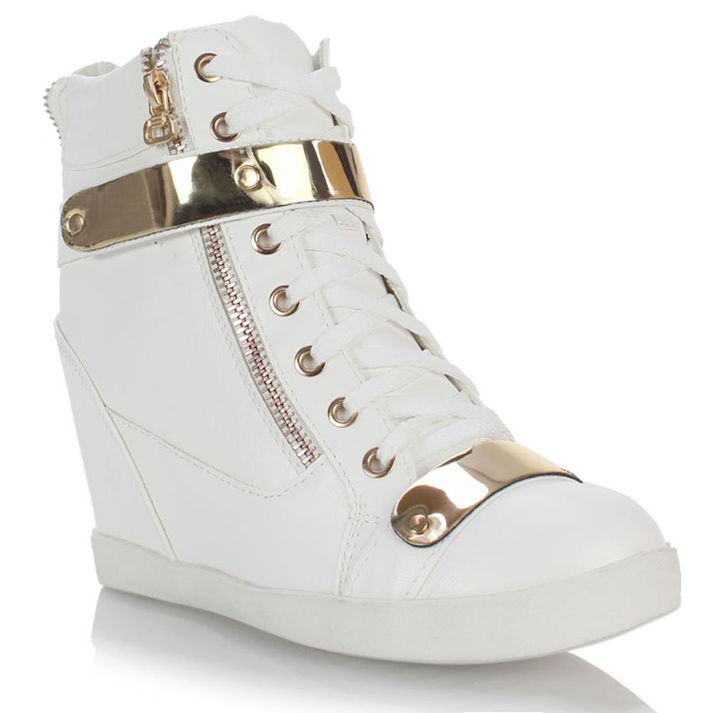 Fashion Thirsty Womens Wedge Concealed Heel High Tops Platform Sneakers Trainers Ankle Boots Shoes Size 8