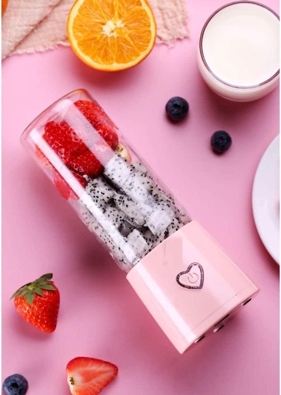 Cucina XMJ Semplice Juicer Portatile Domestica di Frutta Piccolo Ricaricabile Juicer Mini Frullatore Cup Multifunzione 450ML (Color : Single Pass Blue) Single Pass Pink