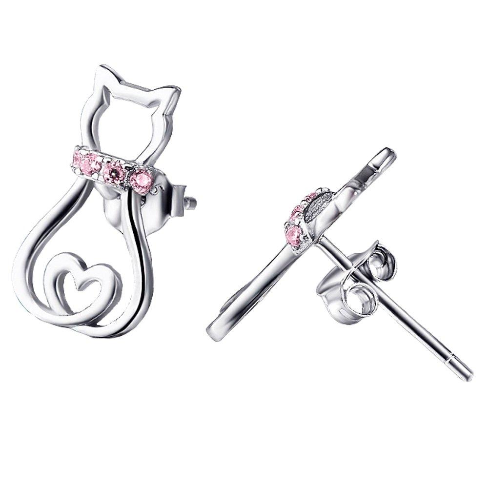Cat Studs Jewelry 925 Sterling Silver Cute Mini Pet Cat Stud Earrings For Women Girls